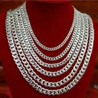 "Men Solid 925 Sterling Silver Curb Chain Necklace 6 8 10 12mm Chunky 16""- 24"" UK"