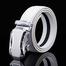 Fashion Men's Genuine Leather White Belt Automatic Buckle Belt Waistband Belts