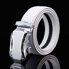 Fashion Men's Genuine Leather White Belt Automatic Buckle Belt Waistband Belts