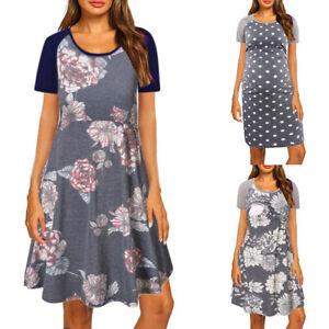 Umstandsmode Umstandskleid Schwangerschaftskleid Stillkleid Kurzarm Nachtkleid