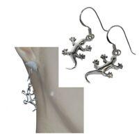 Boucles d'oreilles en argent massif 925 lezard gecko bijou