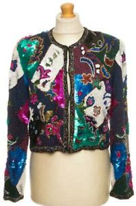 FABULOUS VINTAGE SILK SEQUINED TOP JACKET MADELEINE HAND MADE L/XL LARGE EXLARGE