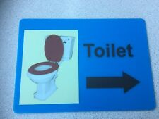 TOILET SIGN IN ACRYLIC/ PERSPEX, ARROW, SCHOOL, CARE RESIDENTIAL HOME, NURSERY