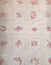 "VNTG Handmade Sampler Quilt Top Embroidered Cutter Floral Bird Red White 56""x70"""