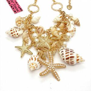 Women Charm Starfish Conch Pearl Fashion Pendant Betsey Johnson Chain Necklace