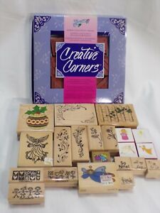 Wood Mount Rubber Stamp Mixed Lot Floral, Angels, Creative Corners & Others