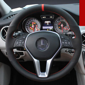 For Mercedes-Benz GLA200 Hand-stitched Car Steering Wheel Cover Black Leather