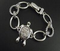 Vintage style silver and clear tortoise / turtle chain bracelet