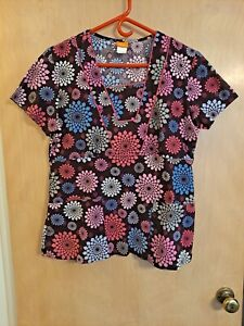 NrG by Barco Scrub Top Women's M pink, brown. Style 41214