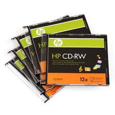 5-PK HP Logo 4-12X Blank CD-RW CDRW ReWritable Disc in Slim Jewel Case