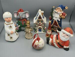 Weihnachtskonvolut Keramik Figuren 8 Teilig Bunt