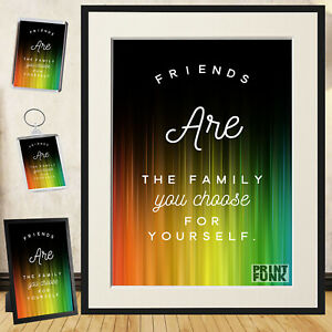 Friendship Quote Poster Print Family Lovely Art Wall Décor + Frame / Gift