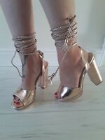 ladies STRAPPY truffle GOLD chunky HEELS size 5 Lace up leg NEW