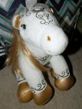 Build-A-Bear-White-and-Go ld-Enchanted-Magic-Blonde- Pony-Horse With Gold Cape