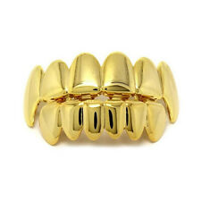 Teeth Grills Upper Bottom Grillz Set Hip-Hop Rapper Gold Plate Mouth Caps Custom