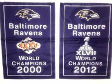 "Baltimore Ravens NFL Super Bowl Champions 2 Banners/Flags 18.5"" x 11.5""  Set"