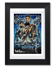 BLACK PANTHER MOVIE CAST SIGNED POSTER PRINT PHOTO AUTOGRAPH MARVEL FILM GIFT