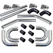 """2.5"""" Aluminum Turbo Intercooler Piping Kit with Black Elbow Hose & Bolt Clamps"""