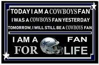 DALLAS COWBOYS - FOOTBALL  FAN FOR LIFE LAMINATED SIGN 11 BY 17 INCH NEW