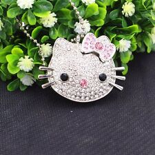 16GB Cat Crystal Jewelry USB Flash Memory Drive with Necklace  silver