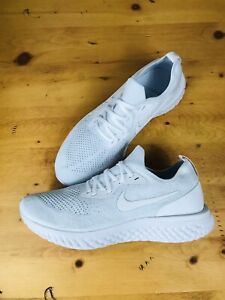🔥Nike Epic React Flyknit FK Triple White Running Shoes AQ0067-102 Men's Sz 10