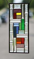 "Beveled Stained Glass Window Panel, Ready to Hang ≈ 10"" X  20"""