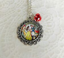 Beauty and the beast pendant necklace With Rose
