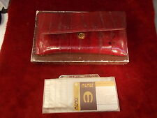 NOS OLD VTG EEL SKIN LADIES WALLET/PURSE, DEEP REDS & BLACK, BEAUTIFUL