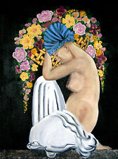 Art Deco style painting: FLOWER BEARER : original by Carlo