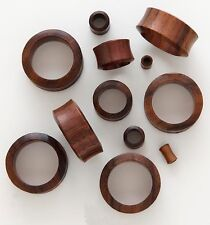 "Pair 5/8"" 16mm Dark Brown Sono Organic Natural Wood Tunnels Ear Plugs Gauge 476"