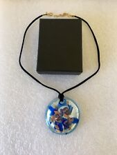NIB Authentic MURANO Glass Round Blue Silver Gold Pendant on Cord Italy Necklace