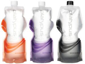 New NIP Platypus Collapsible 1 Liter Water Soft Bottle Purple Wave Free Ship