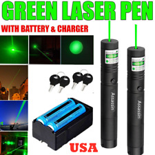 2Pcs 900 Miles Green Laser Pointer Pen 18650 Rechargeable Lazer Adjustable Focus