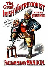The Great Irish Ventriloquist :    Vintage political Poster reproduction.
