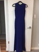 Victoria Beckham Cobalt Blue Georgette Wool & Silk Blend Back Zipper Gown
