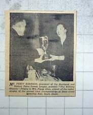 1949 Mrs Peggy Alan Wins Ladies Singles Blackpool Table Tennis League