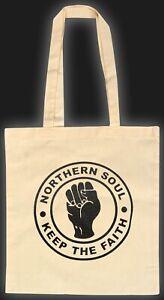 NATURAL COTTON NORTHERN SOUL ECO TOTE BAG KEEP THE FAITH BRITISH MOD SOUL MUSIC
