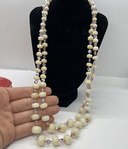 "Vintage Necklace Vogue Signed Multi Strand Rhinestone Pink 24"""