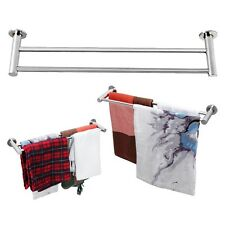 Modern Double Towel Rail Holder Wall Mounted Bathroom Bath Rack Shelf Silver