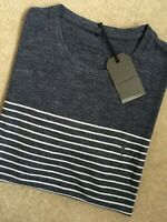 """ALL SAINTS INK / CHALK """"TOKO TONIC"""" S/S CREW T-SHIRT TOP - XS - NEW & TAGS"""