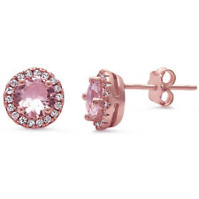 Rose Gold Tone Round Halo Pink CZ Stud 925 Sterling Silver Post Earrings
