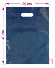 50 BOLSAS tienda 30x40 cm color azul oscuro opacas con fuelle y asa