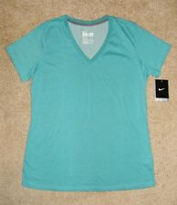 NWT $25 NIKE DRI-FIT V-Neck Slim Fit Turquoise Teal Top XL