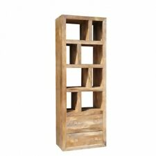 Wooden Tall Bookcase With 2 Drawer & 8 Shelves made from Mango Wood (Light)