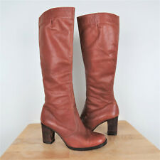 Vintage 70s Brown Leather Tall Heeled Boots Womens Size 7