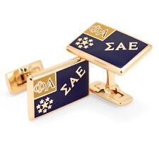 SAE Sigma Alpha Epsilon gold flag Cuff Links with box