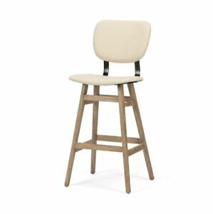 Mid Century Bar Stool with Fabric Stationary Seat Sold as Pairs