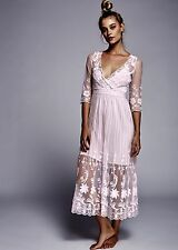 Free People Women's Pink Sheer Embroidered Floral Mesh Maxi Dress sz S/P