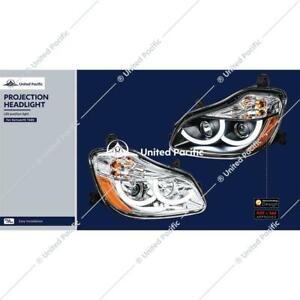 1 pair chrome Projection Headlight LED halo Light  2013-2021 Kenworth T680 new