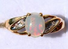 Vintage beauty! Solid 10k Ethiopian Welo 5x7 natural opal diamond ring 2.2 gr.